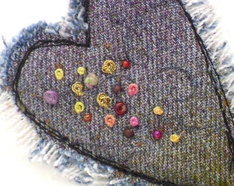Mixed Media Brooch Heart Jewelry Recycled Denim Valentine
