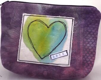 Handmade Clutch, Zippered Bag, Purple Love