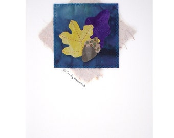 Greeting Card, Fiber Art, Leaves, Yellow Purple Turquoise