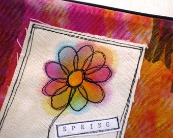Handmade Clutch, Zippered Bag, Purse, Pink Spring