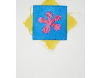 Blank Greeting Card, Flower, Pink, Turquoise, Yellow, Handmade