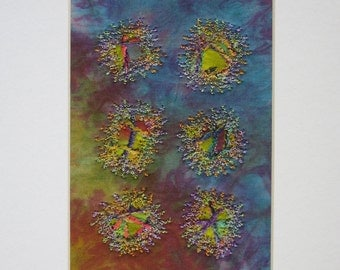 Art Quilt Collage, Matted, Framable Art
