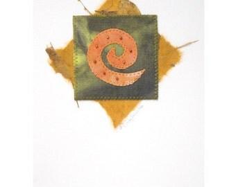 Greeting Card, Spiral, Orange, Green, Handmade
