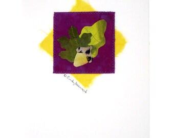 Greeting Card, Mixed Media, Autumn, Green Yellow Purple