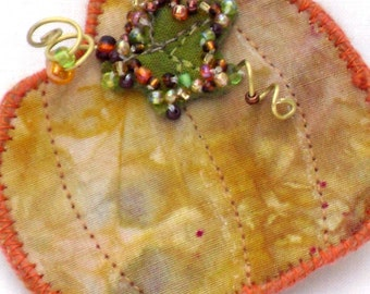 Mixed Media Brooch, Beaded Pumpkin