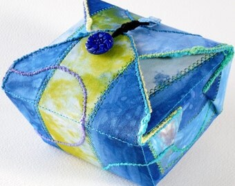 Fabric Box, Sky Blue, Green, Handmade