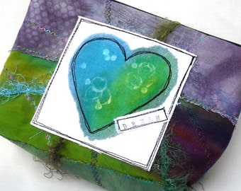 Cosmetics Bag Zippered Bag Purse Clutch Green Purple Heart