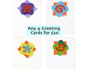 Greeting Cards Any Four Your Choice