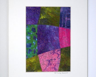 Fiber Art Matted 8 x 10 Purple Pink