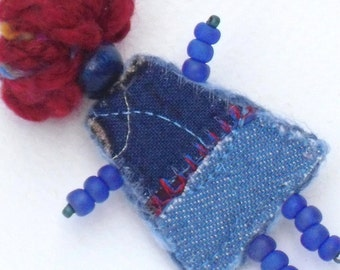 Fiber Art Pin, Mixed Media Red White Blue Patriotic Girlfriend