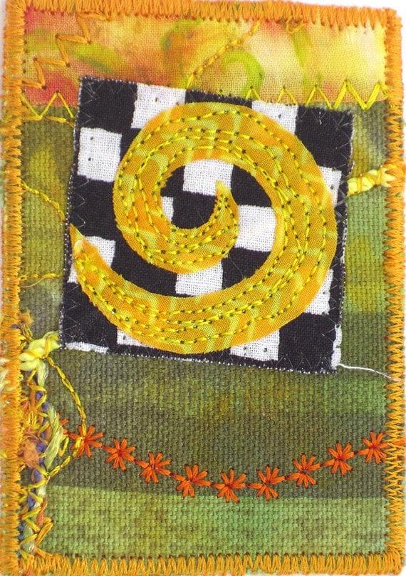 ACEO Art Card, Fiber Art Collage Spiral