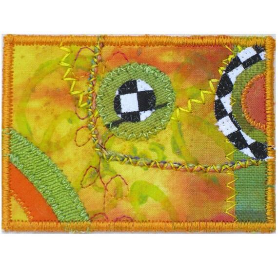 ACEO Art Card - Mixed Media Orange Green Dots