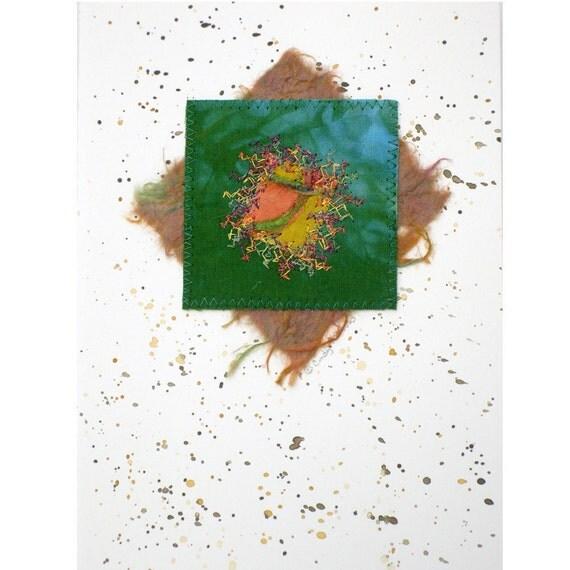 Greeting Card, Fiber Art, Brown, Green