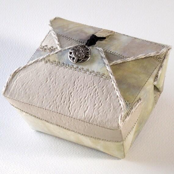 Fabric Box Champagne Beige Handmade Jewelry Box Bridal