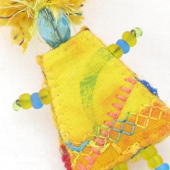 Mixed Media Jewelry Brooch Lemon Yellow Girlfriend