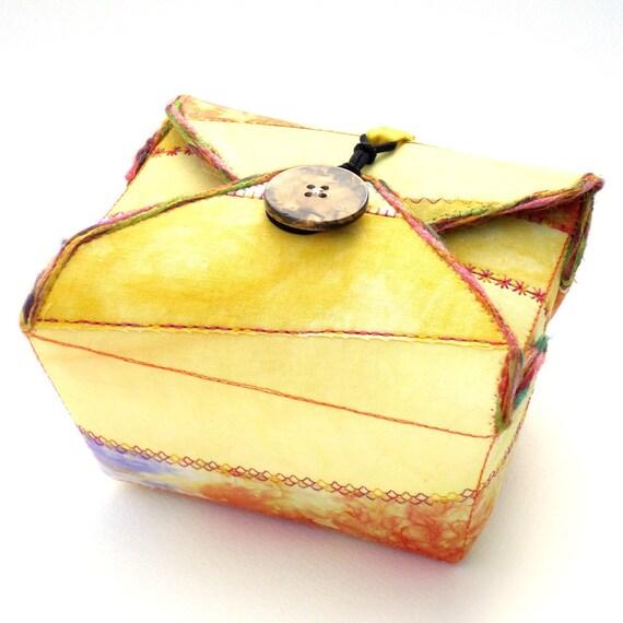 Fabric Box, Yellow Purple, Handmade