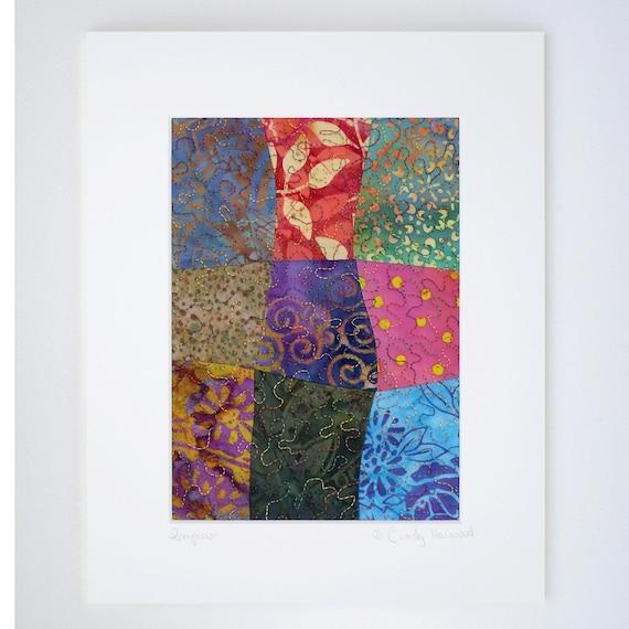 Fiber Art Framable, Multi Color, 8 x 10 Matted