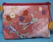 Silk pouch brocade Chirimen crepe silk fabric vintage Japan Japanese