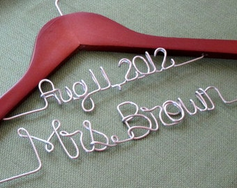 Double Decker Two Line Personalized Wedding Gown Dress Hanger with Name