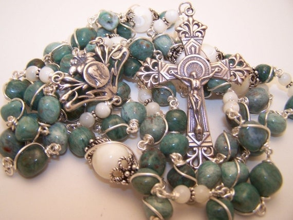 Unbreakable Rosary-African Green Jade Pebble and Mother Of Pearl