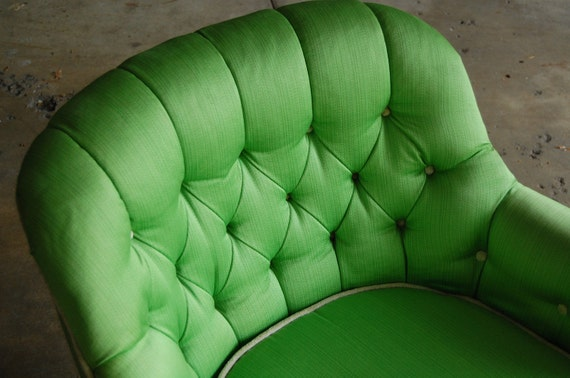 RESERVED for Angela - Vintage - Apple Green Tufted Silk Chair