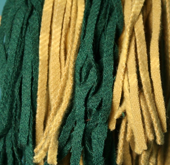 Green and Gold - 100 Primitive Hand Cut Wool Strips