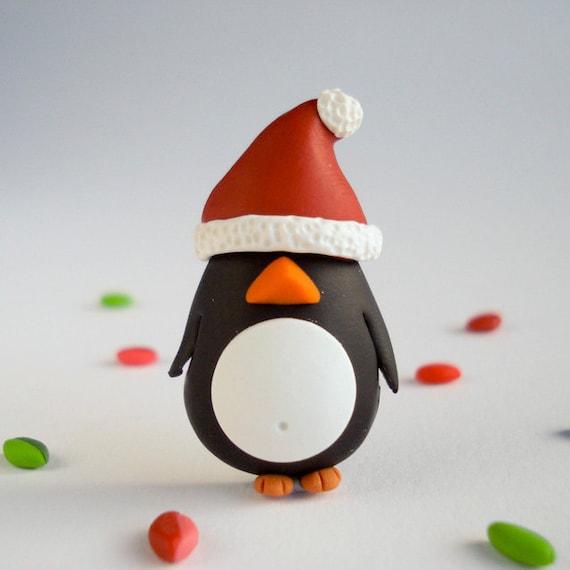 Christmas Penguin brooch, Fun Handmade Holidays Jewelry