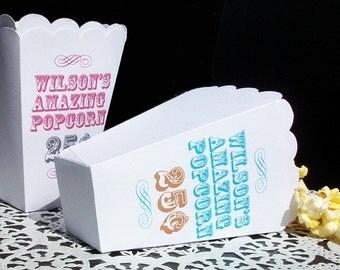 15 Personalized Custom Popcorn Boxes Weddings Favors, Birthday, Christening Favors Bat Mizvah Favors, Popcorn Bar Movie Night Scalloped Box