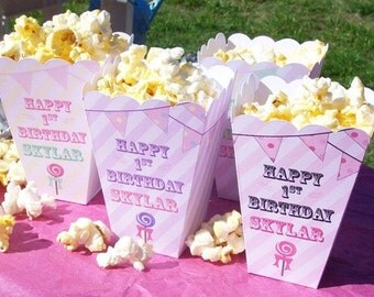 15 Personalized Carnival Theme Popcorn Boxes for Girls Birthday Circus Favor Popcorn Box for Children's Party or Movie Night