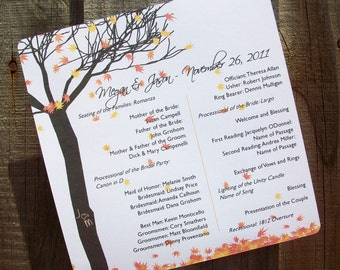 Fall Leaves and Tree Personalized Wedding Programs - 30