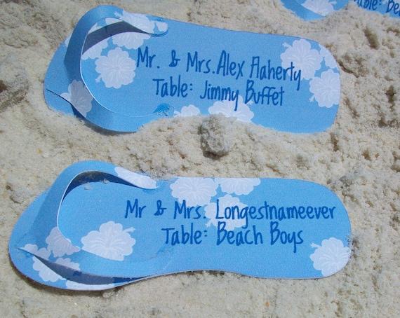 Flip Flop Sandal Die Cut Personalized Escort or Place Cards