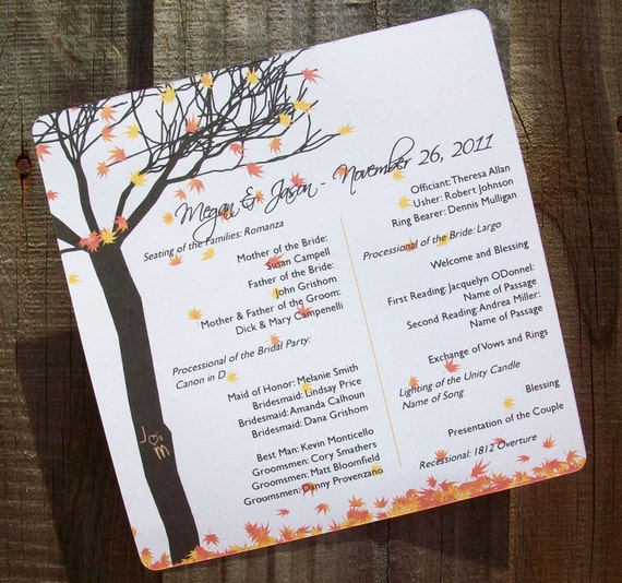 Fall Leaves and Tree Personalized Wedding Programs 30 Fall