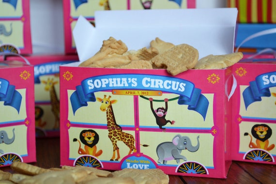 25 Personalized Pink Animal Cracker Boxes for Childrens Birthday Party Favors