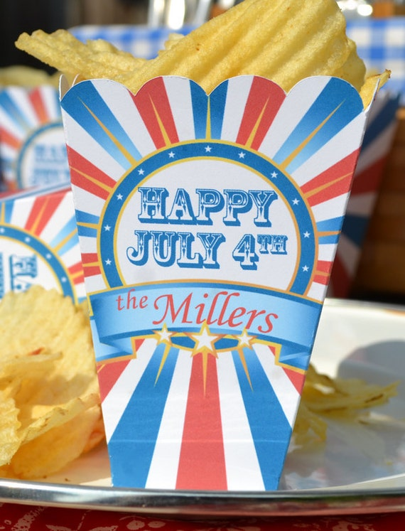 15 Personalized Election or Patriotic July Fourth Popcorn Boxes for BBQ or Cookout Party