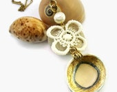 SALE - Buy 2 get 1 for free: Gold and White Beach Necklace, Delicate Necklace
