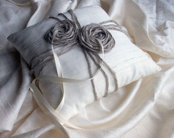 Ivory Ring Bearer Pillow/Cushion in Raw Silk with Two  Metallic Organza Bird's Nest like Rosettes