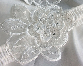 Bridal Keepsake Garter - Embroidered Organza Flower