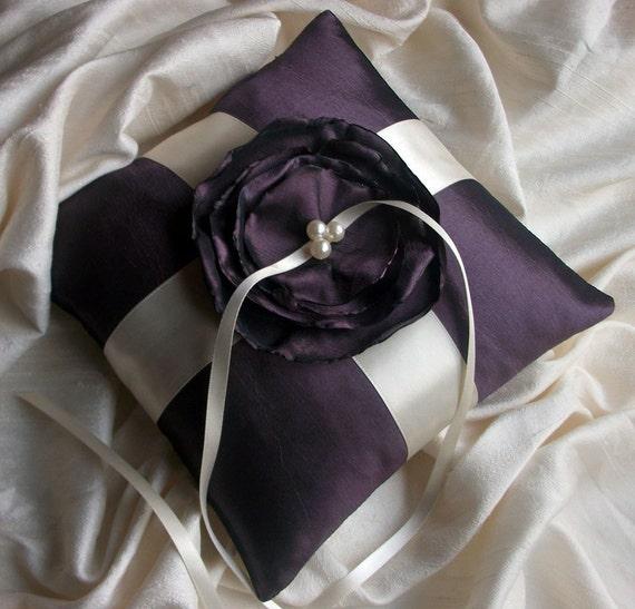 Bearer Pillow in  Aubergine/Eggplant Taffeta With Strips of Cream Ribbon and Handmade Flower