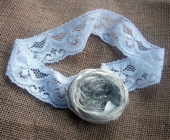 Wedding  Garter Single Keepsake in white stretchy lace with single ivory silk  glass beaded rosette