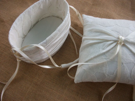 Ring Bearer Pillow/Cushion and  Oval Flower Girl Basket Set in ivory lace and raw silk