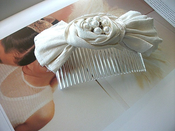 Wedding Hair Comb/Head Piece Adorned with Handmade  Raw Silk Flower/Bow and  Pearls