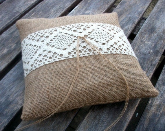 Rustic Ring Bearer Pillow in Natural Burlap with Cream Cotton Lace 6 x 6 inches
