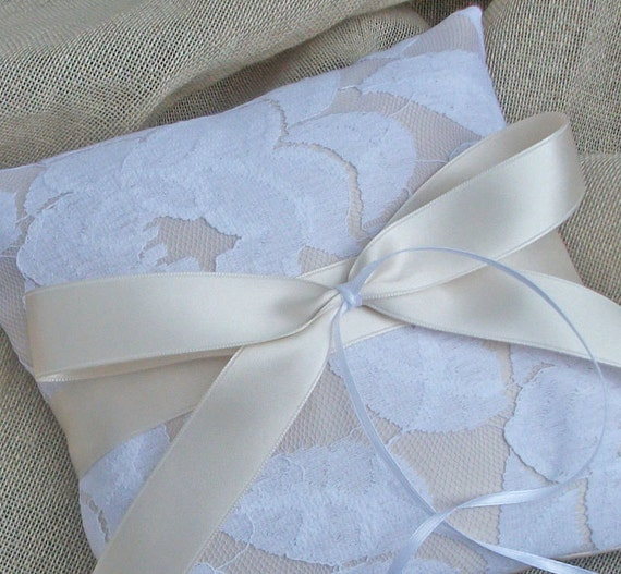 Champagne Satin Ring Bearer Pillow with white lace Overlay