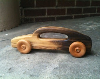 """Roll 'Em Car by BANDY. Large 12"""" long body with handle, salvaged poplar body, maple wheels, oak axles, durable and fun"""