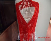 Red Metallic Lace  Scarf