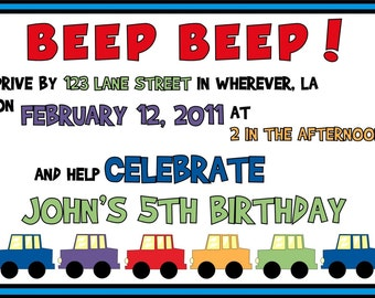Beep Beep Car Invitations