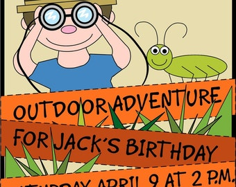 Outdoor Adventure/Jungle Birthday Digital Invitations