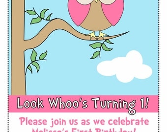 Look Whoo's Turning 1 Birthday Invitation