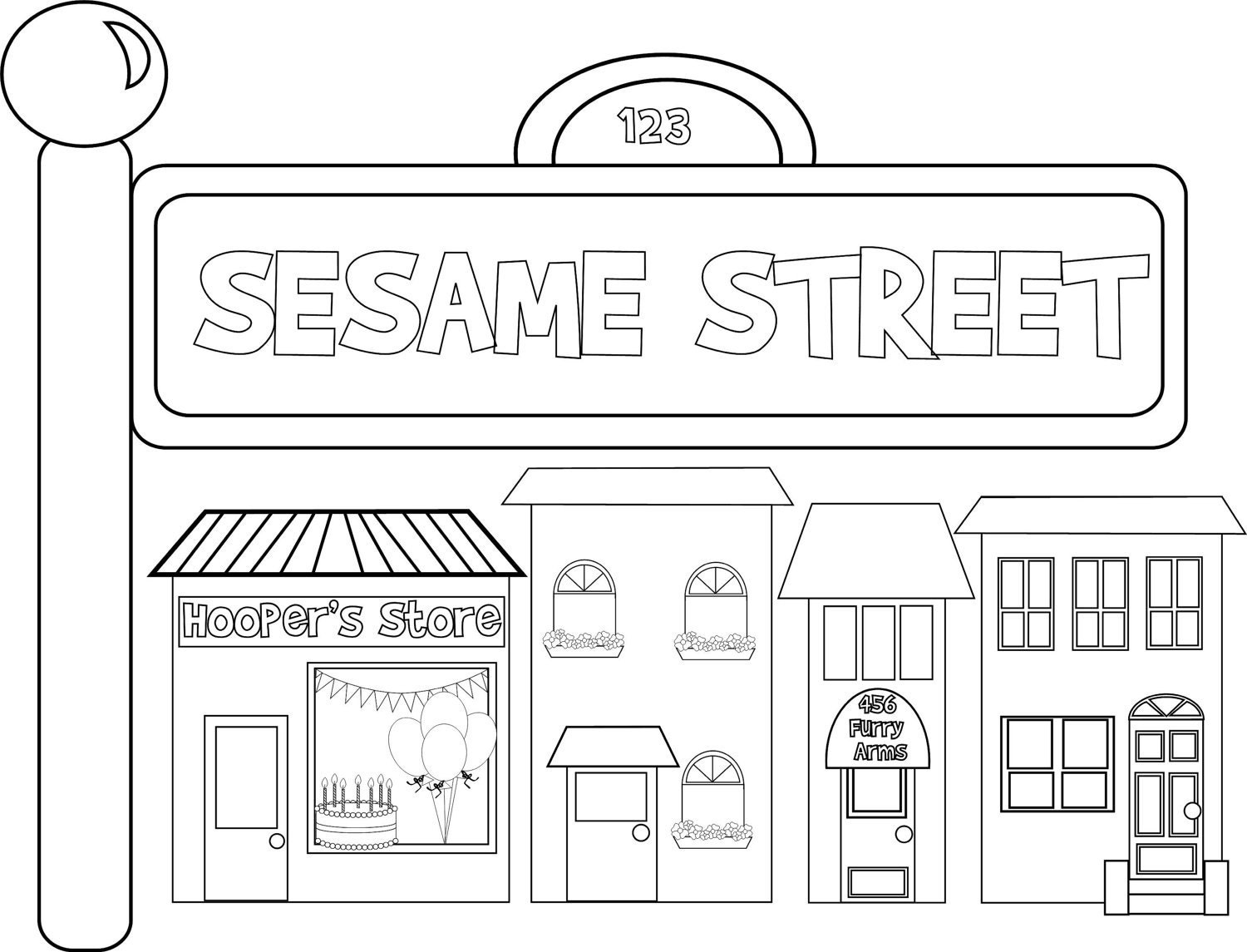 sesame street sign coloring pages - photo#4