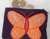 Navy blue small purse with embroidered butterfly